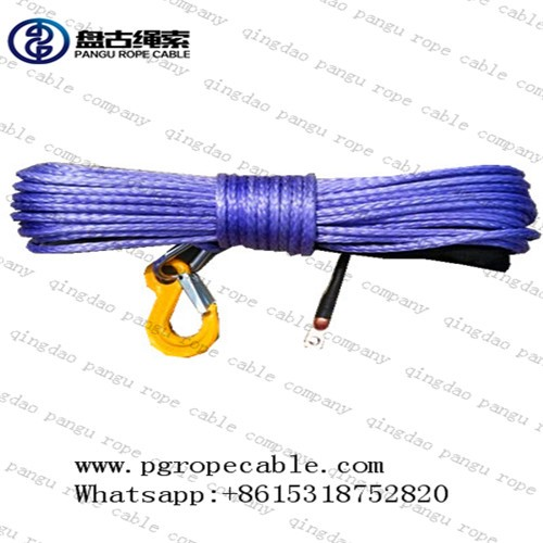 pangu 8mm purple synthetic plasma winch rope with hook for MINI winch