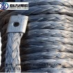 8mmx30m gray color pangu synthetic winch rope with hook & hawse fairlead